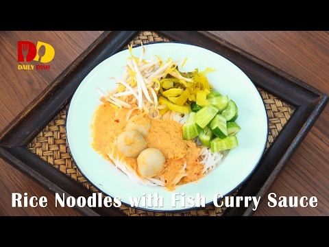 Rice Noodles With Fish Curry Sauce (Thai Food) ขนมจีนน้ำยากะทิ   Kanom Jeen Nam Ya