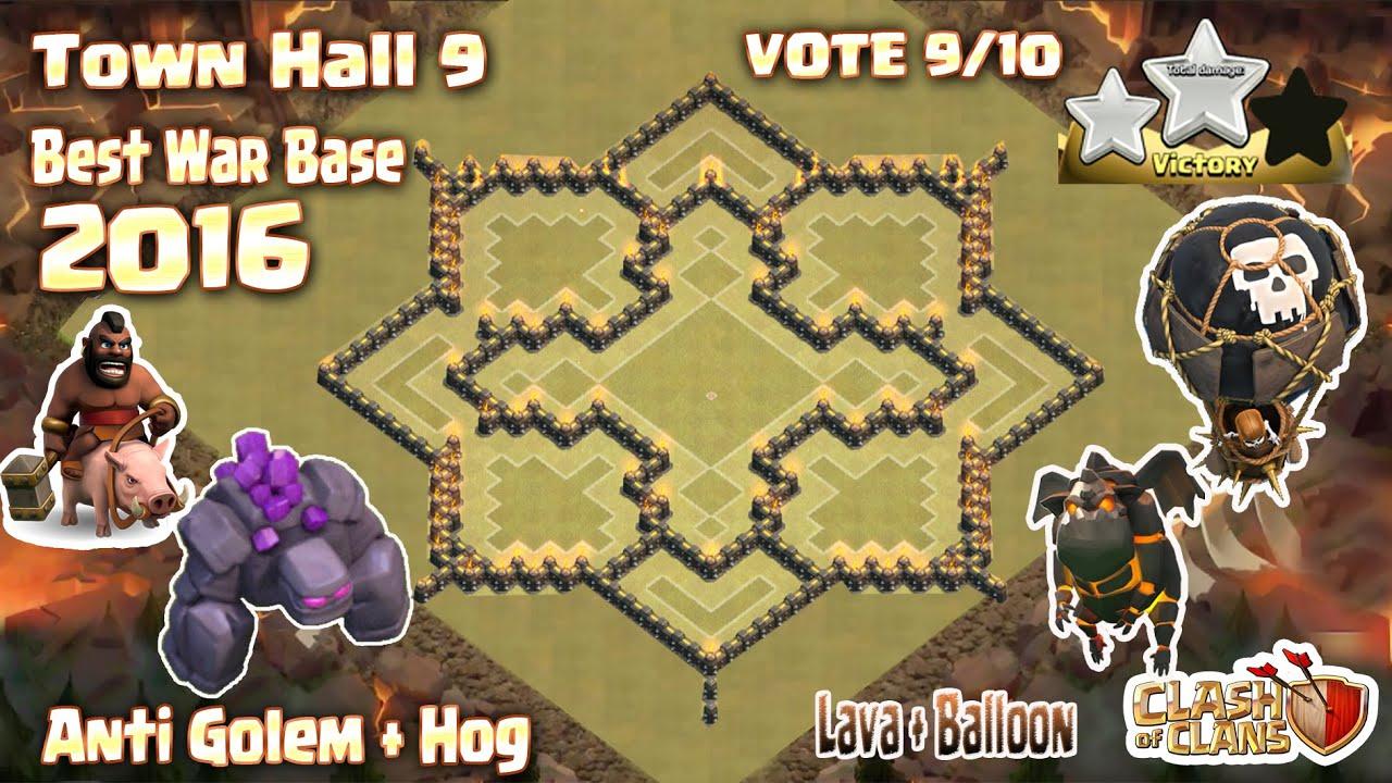 Clash of clans town hall 9 th9 war base anti 3 star 2016 anti