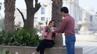 Romantic Indian couple celebrating Valentines Day together - lifestyle couples concept