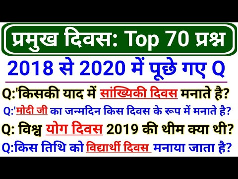 Previous Exams Top 70 Days Questions | प्रमुख दिवस | Important Days India And World