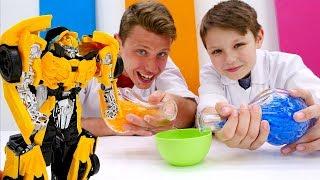 Игры с Трансформерами - Бамблби хочет спать! – Видео для детей.