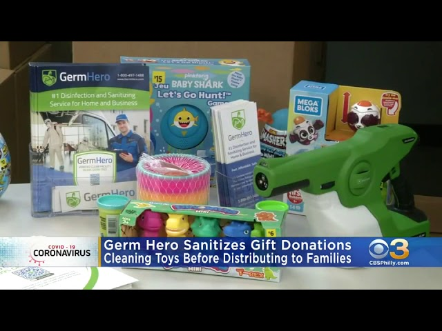 Germ Hero  Helping Toys For Tots Organization Sanitize Donated Gifts on KYW - CBS Philadelphia