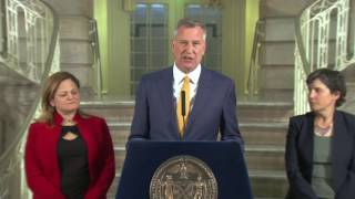 Mayor de Blasio Makes Announcement with Speaker Mark-Viverito