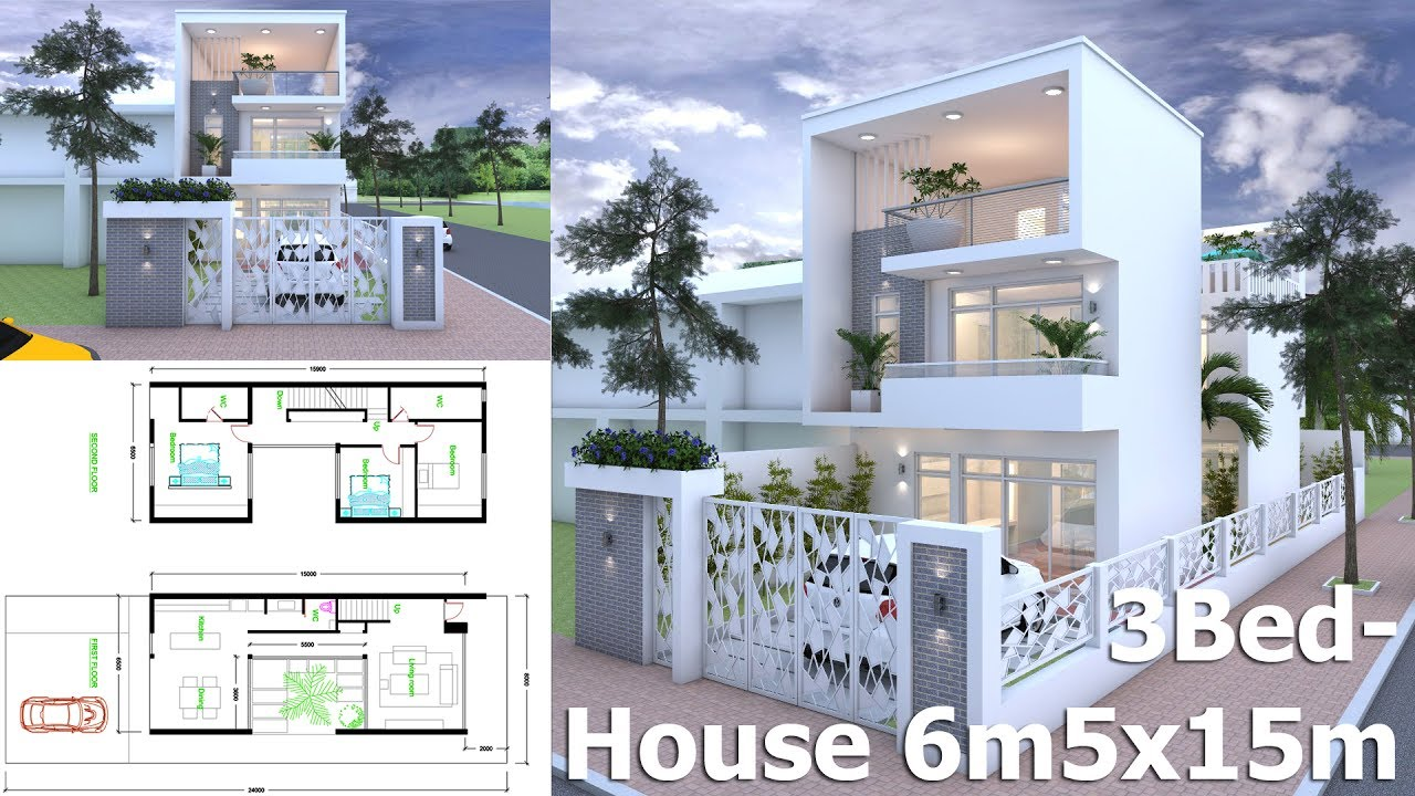 modern house plans 3bed modern home plan 6 5x15m plot size 8x24m 11306