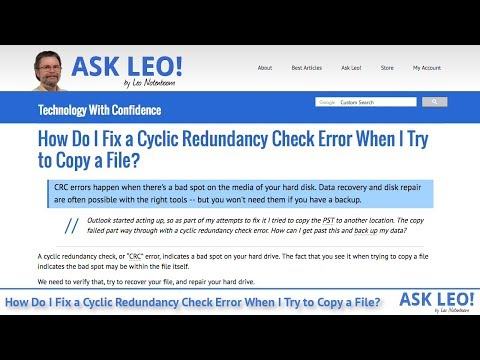 How Do I Fix a Cyclic Redundancy Check Error When I Try to