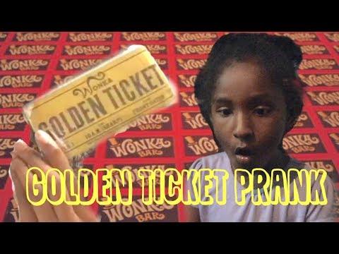 Willy Wonka Golden Ticket Prank!!