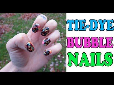 Easy Tie Dye Bubble Nail Art Tutorial Youtube