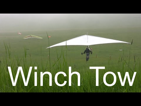 Hang gliding Winch tow with a Nissan - Теглене с лебедка на делтапланер