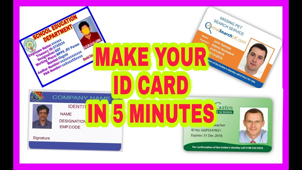 how to make id card easily in 5 minutes l prepare id cards