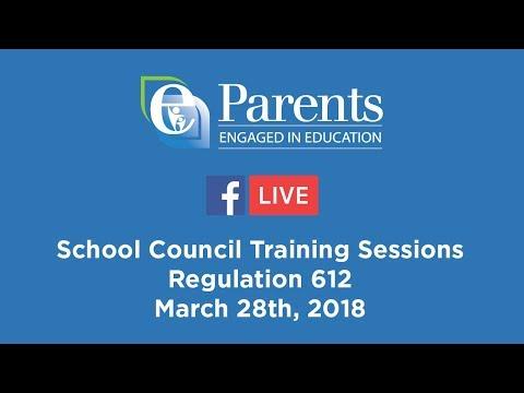 Let's Talk Regulation 612: School Council Training Session