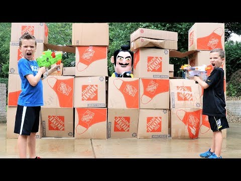 Nerf Battle:  Hello Neighbor Box Fort (The Rise Of Beezelbub)