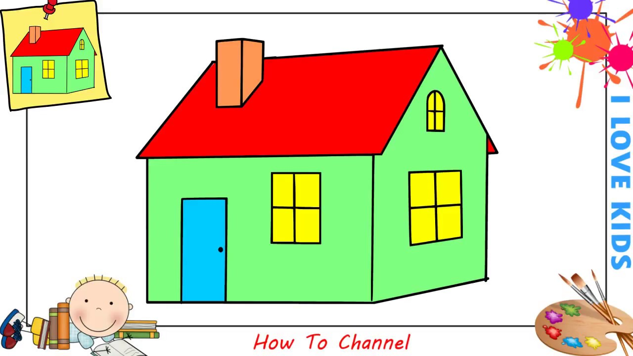 How to draw a house easy step by step for kids beginners children