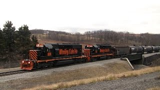 Trains on the Wheeling & Lake Erie Railroad in Western Pennsylvania