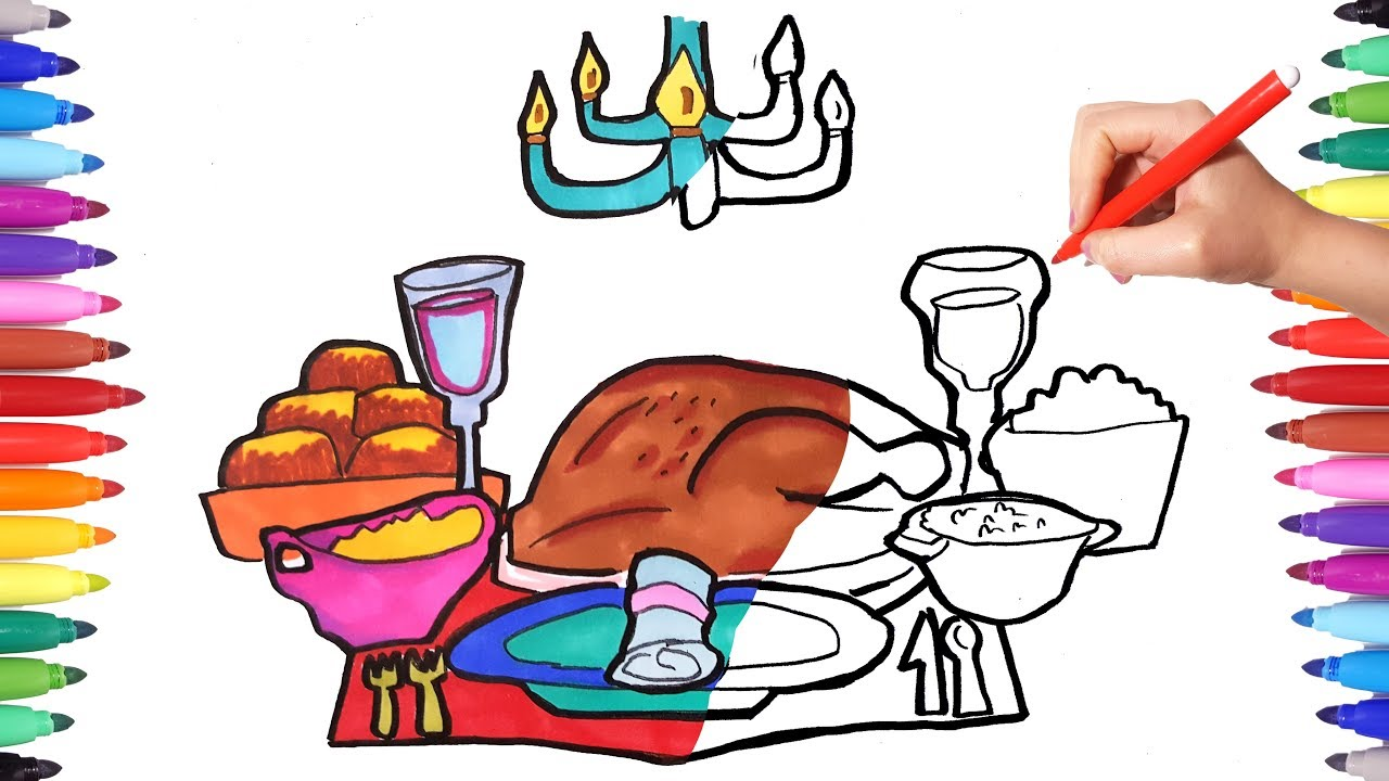 how to draw set table  turkey for thanksgiving  food