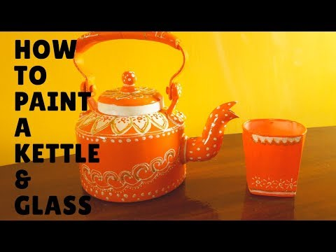 How To  Handpaint A Kettle |Paint A Glass |Tea Kettle Home Decor |Birthday Party Decor Ideas|Sikha M
