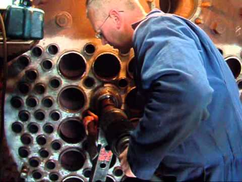 Installing flue tubes in the boiler of a steam loco, Ropley, Mid Hants Railway, UK - YouTube