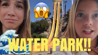 WATERPARK water slide | FLOWRIDER wipe out | Swimming Palm Springs | Quinn Sisters