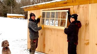Crazy or Just NUTS!?! Installing the Final Windows when it's 20℉ (Post & Beam Barn Build)