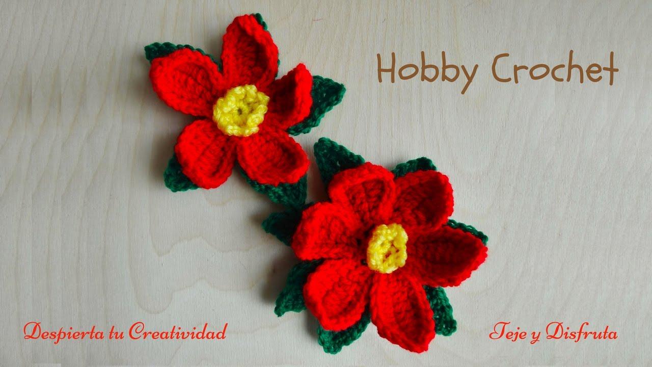 Mi flor de Navidad a crochet (poinsettia), paso a paso. - YouTube