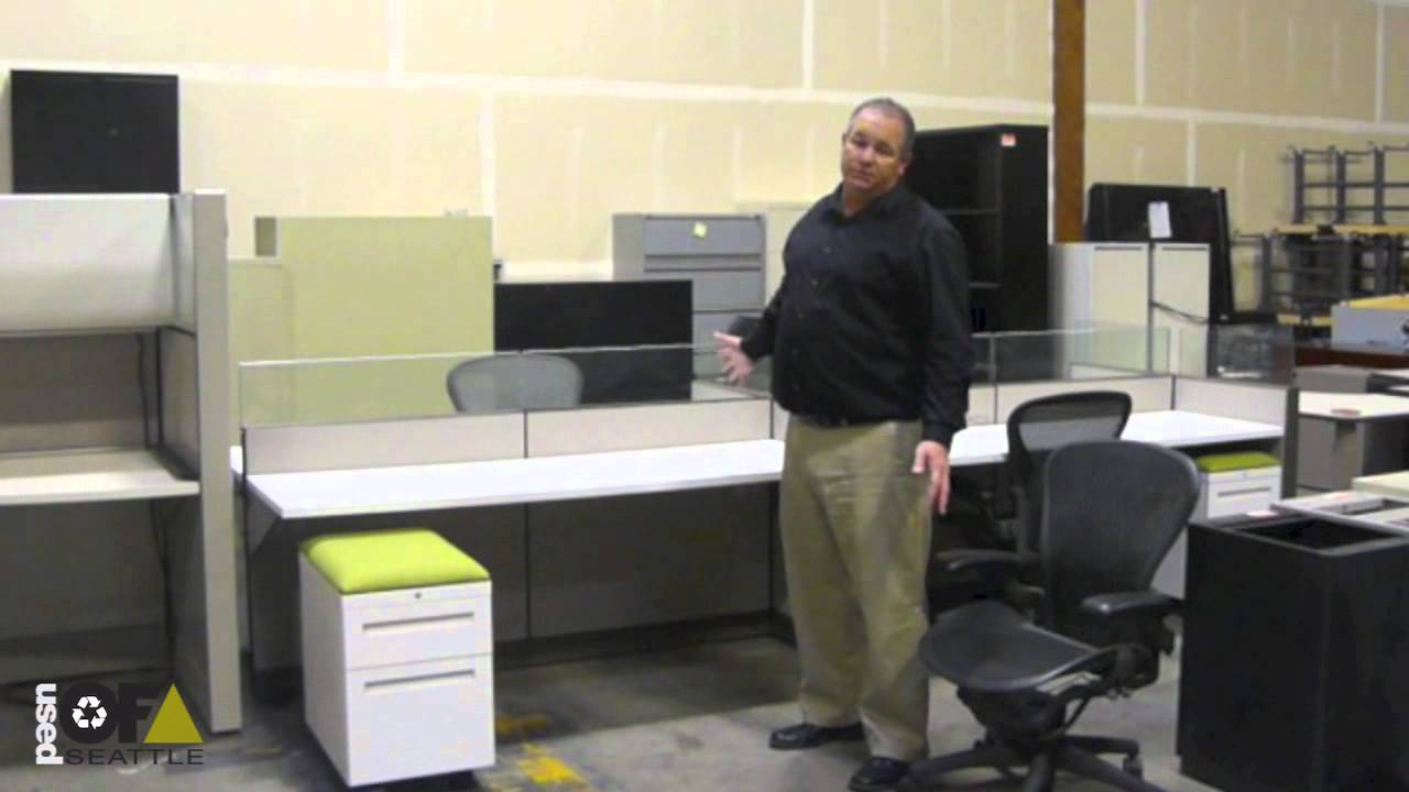 Used Office Furniture Seattle: Allsteel Benching Station + Herman Miller  Aeron Chairs   YouTube