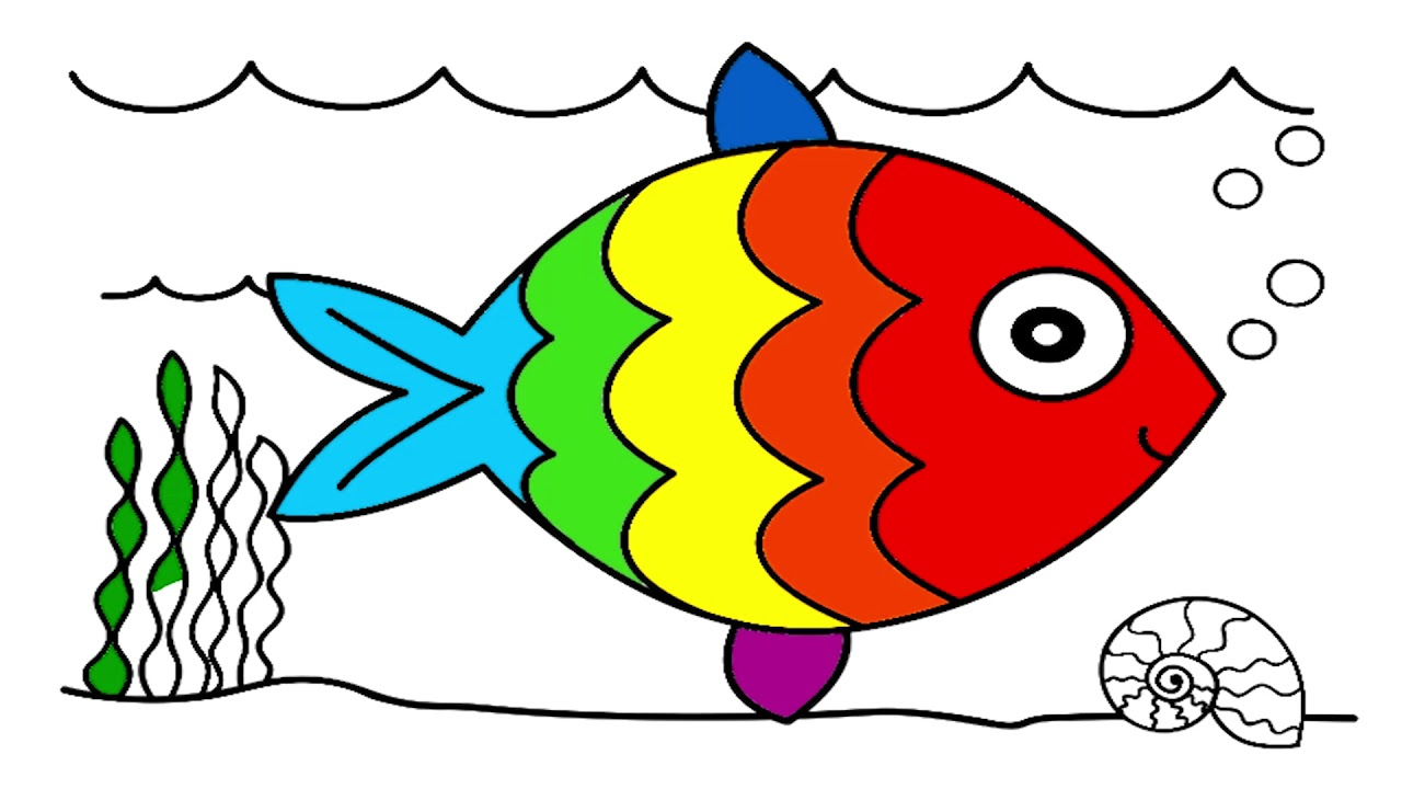 How to draw and coloring fish - art for kids - YouTube