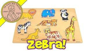 Wood Animal Peg Puzzle - Lion, Elephant, Panda, Giraffe, Tiger, Zebra, Kangaroo, Jaguar