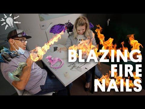 BLAZING FIRE NAILS (ACRYLIC NAILS) - VLOG 111