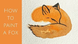How to paint a sleeping fox in watercolours