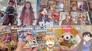 manga shopping + haul, going to the beach, anime merch, lots of food | vlog