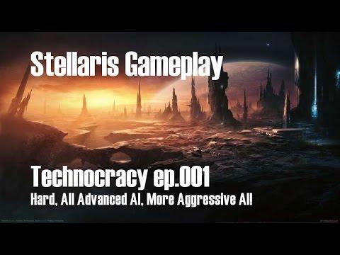 Stellaris Technocracy 001[Hard], No commentary, All Advanced AI, More Aggressive AI (2xSpeed)