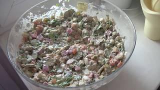 """""""Облегченный"""" зимний салат с копченой говядиной"""
