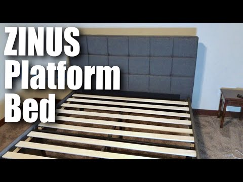 Zinus Dark Grey Upholstered Square Stitched Platform Bed