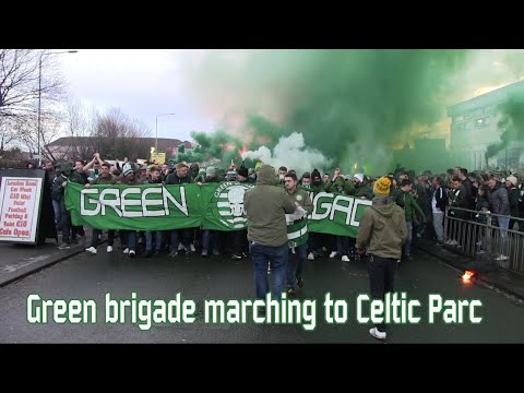 The Green Brigade marching to Celtic Park