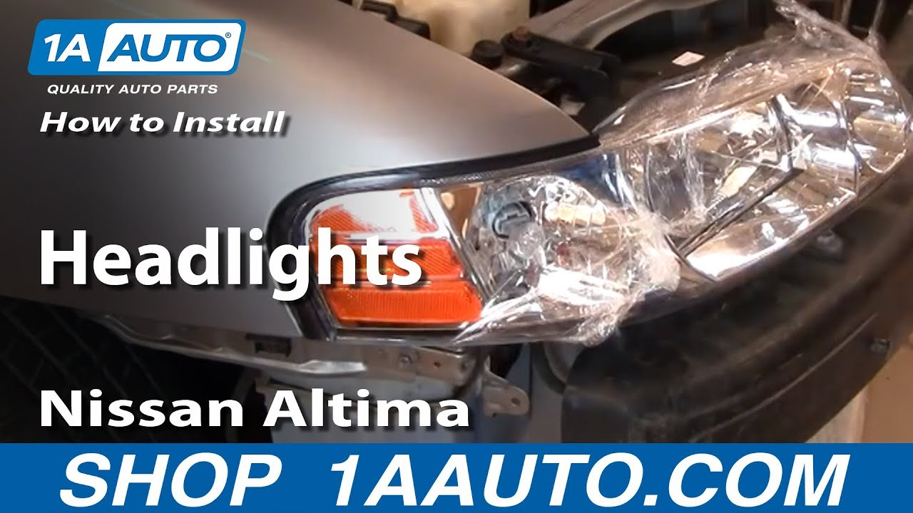 how to install replace headlights nissan altima 00 01 1aauto com youtube [ 1920 x 1080 Pixel ]