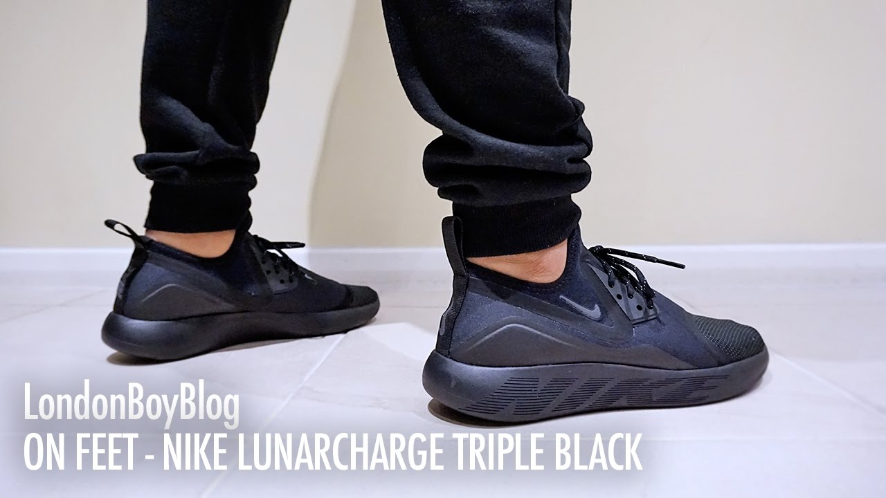 newest c369c 6123b On Feet - Nike LunarCharge Triple Black - YouTube