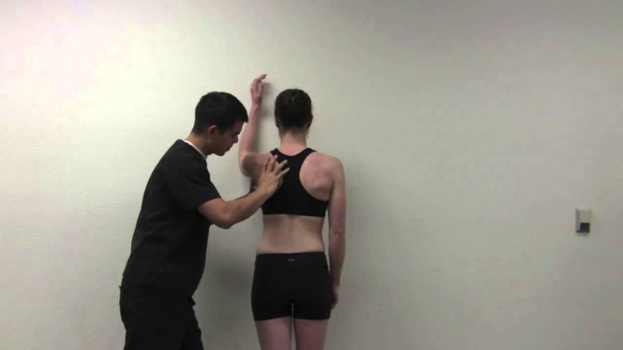 Unilateral shoulder flexion wall slides for scapular