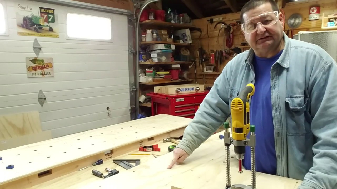 Drilling Workbench Dog Holes Using A Simple Alignment