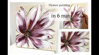 How to draw EASY flower painting on canvas |  in 6min| Acrylic painting on canvas