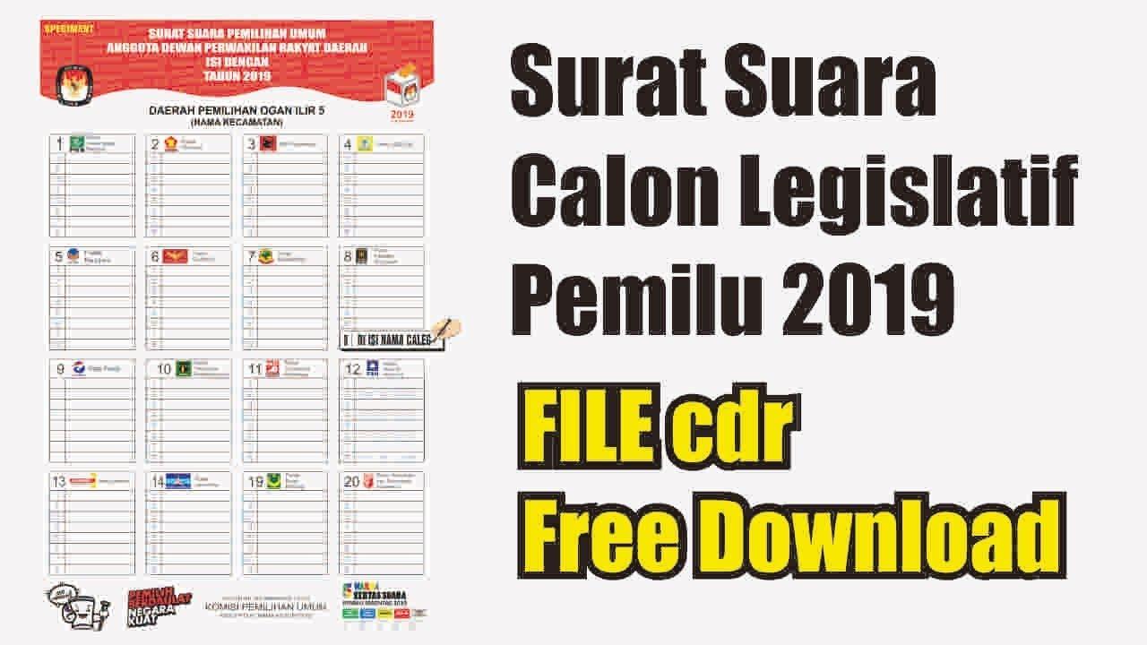 Free Cdr File Contoh Surat Suara Pemilihan Legislatif 2019