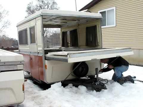 Apache pop-up camper bed end setup