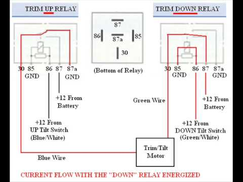 Troubleshooting, Byping, & Wiring SPDT Tilt Trim Relay - YouTube on boat helm wiring, boat wiring diagrams showing fuses, glastron boat electrical diagram, mercruiser power trim wiring diagram, rocker switch wiring diagram, trim motor wiring diagram, boat instrument panel wiring diagrams, trim switch wiring diagram, teleflex trim gauge wiring diagram, volvo penta trim wiring diagram, boat diagram port starboard, yamaha trim gauge wiring diagram,