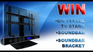 Mount Your Soundbar Under a Swiveling Universal TV Stand