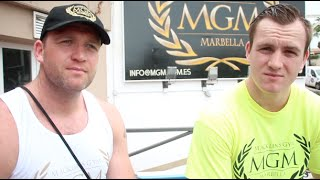 BROTHERS IN BOXING - MICHAEL & GARY SWEENEY TALK TO KUGAN CASSIUS IN MARBELLA FOR IFL TV