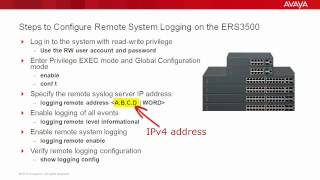 How to Configure Remote System Logging on the Avaya ERS3500