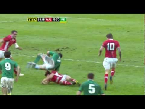 Halfpenny great tackle on Sean O'Brien