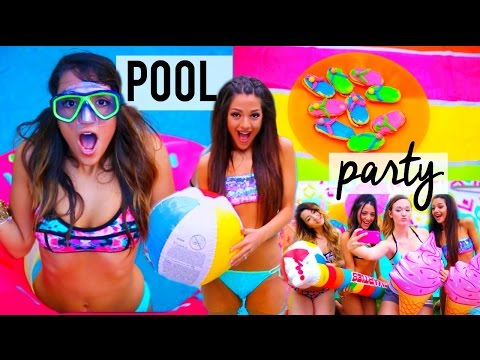 Summer POOL PARTY! DIY decor, treats, ideas + things to do | Niki and Gabi