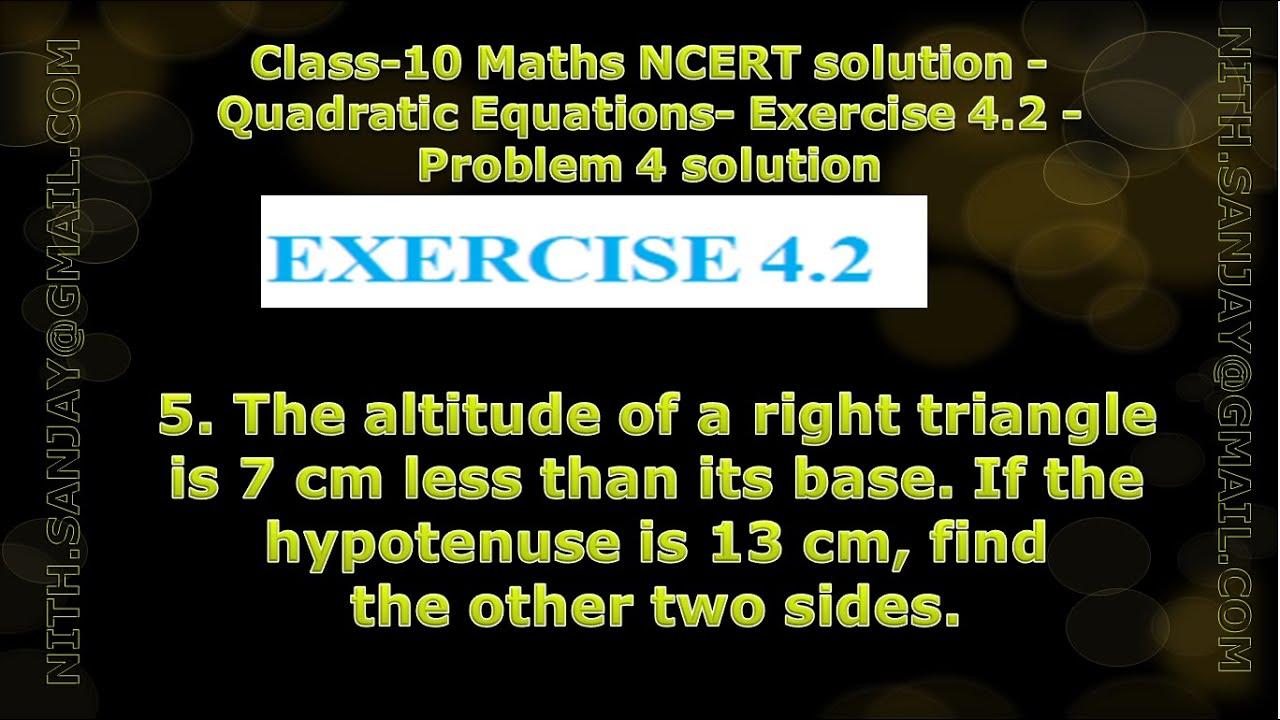 Cbse Class 10 Maths Ncert Solution Quadratic Equations