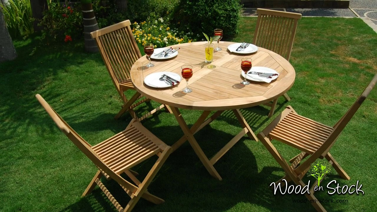 table de jardin en teck brut table sunrise 100 cm - YouTube