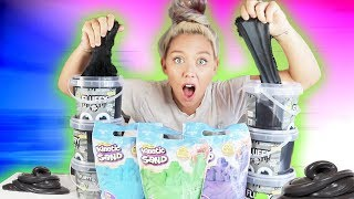 MIXING 20lbs BLACK FLUFFY SLIME Into Kinetic Sand! SO SATISFYING