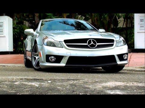 Silver Mercedes Benz SL 63 AMG (R230 facelift) crossing Collins Avenue at Miami Beach Florida